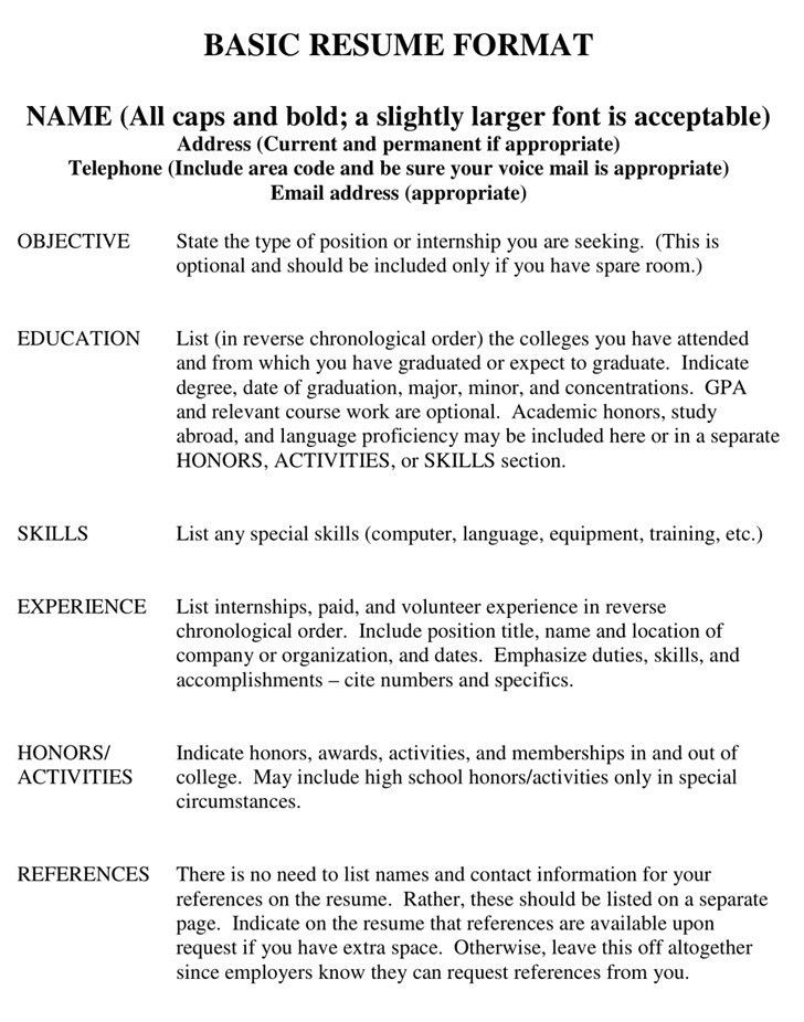 Example Of Simple Resume Format. 7 Free Resume Templates Simple ...