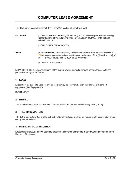 Computer Lease Agreement - Template & Sample Form | Biztree.com
