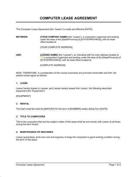 Computer Lease Agreement - Template & Sample Form | Biztree.com