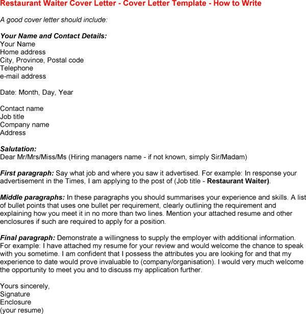 Waitress Cover Letter Template Free Microsoft Word Templates for ...