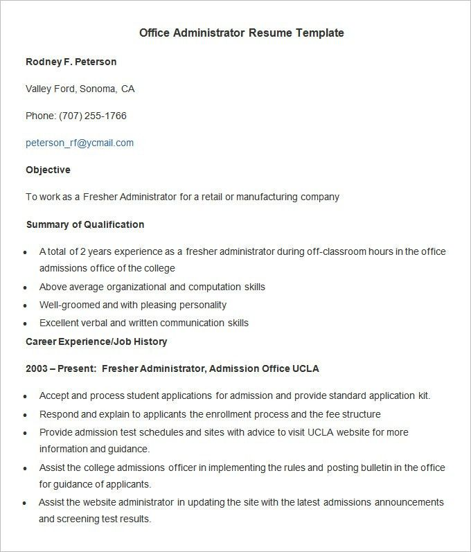 Administration Resume Template – 24+ Free Samples, Examples ...