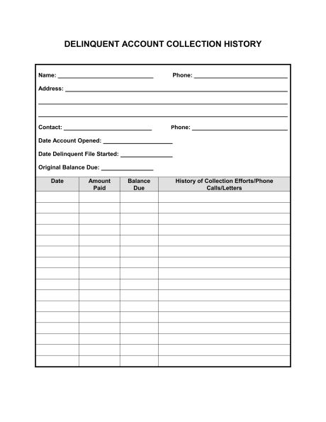 Collection History for Delinquent Account - Template & Sample Form ...