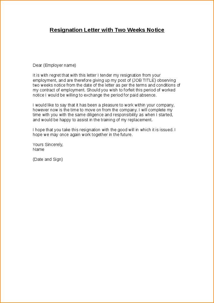 8+ 2 week resignation letter example - Basic Job Appication Letter