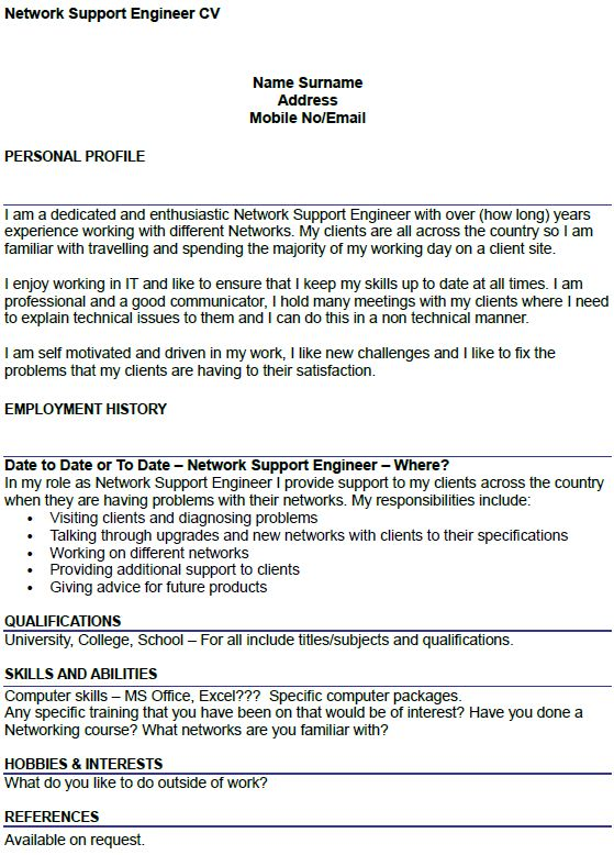 Network Support Engineer CV Example - icover.org.uk
