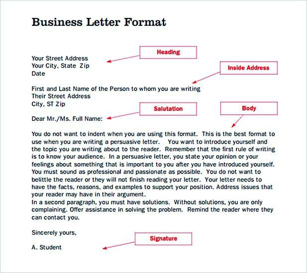 Formal Letter Template: General Outline for Business Correspondence