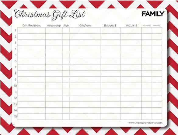 27+ Christmas Gift List Templates - Free Printable Word, PDF, JPEG ...