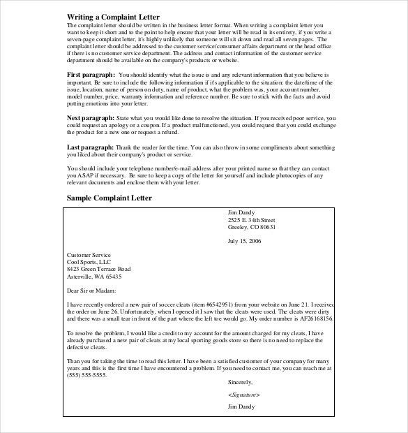 Letter of Complaint Template – 10+ Free Word, PDF Documents ...