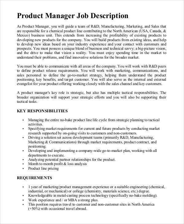 Sample Product Manager Job Description - 8+ Examples in PDF, Word