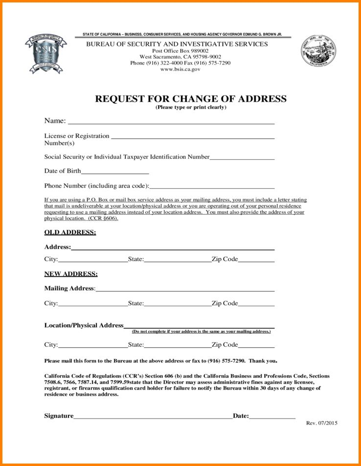 Social Security Change Of Address Form.request For Change Of ...