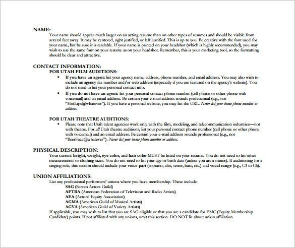 acting resume template 25 best ideas about acting resume template - Audition Resume Template