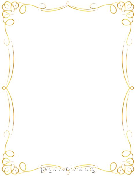 Printable golden border. Use the border in Microsoft Word or other ...