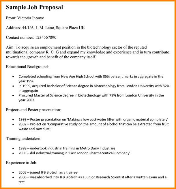 8+ job proposal template - LetterHead Template Sample