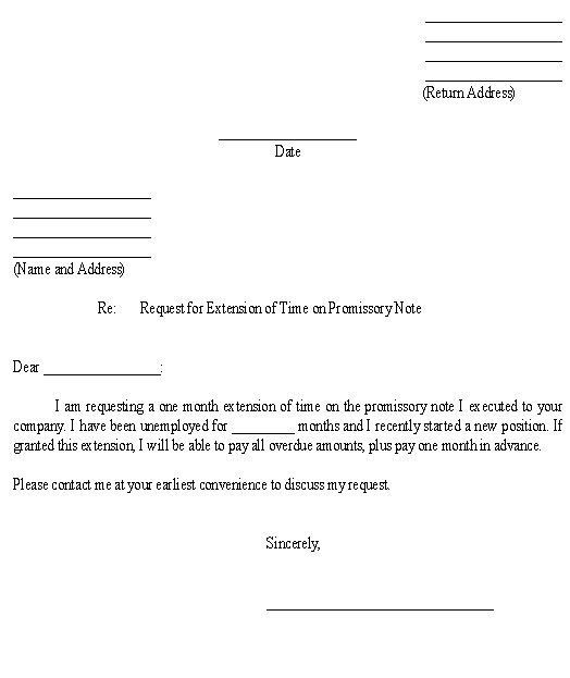 Sample Letter for Request for Extension of Time on Promissory Note ...