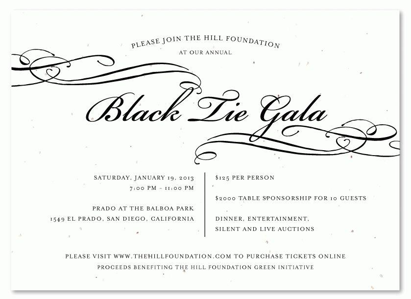 Unique Invitations You Can Plant ~ Black Tie Gala | Gala ...