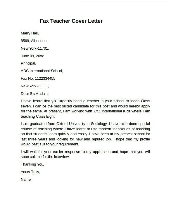Teacher Cover Letter Example - 10+ Download Free Documents In PDF ...