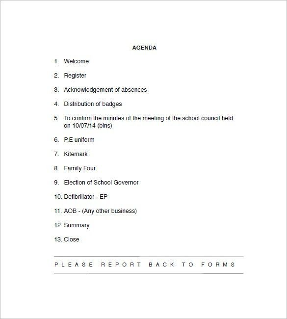 10+ School Agenda Templates - Free Sample, Example, Format ...