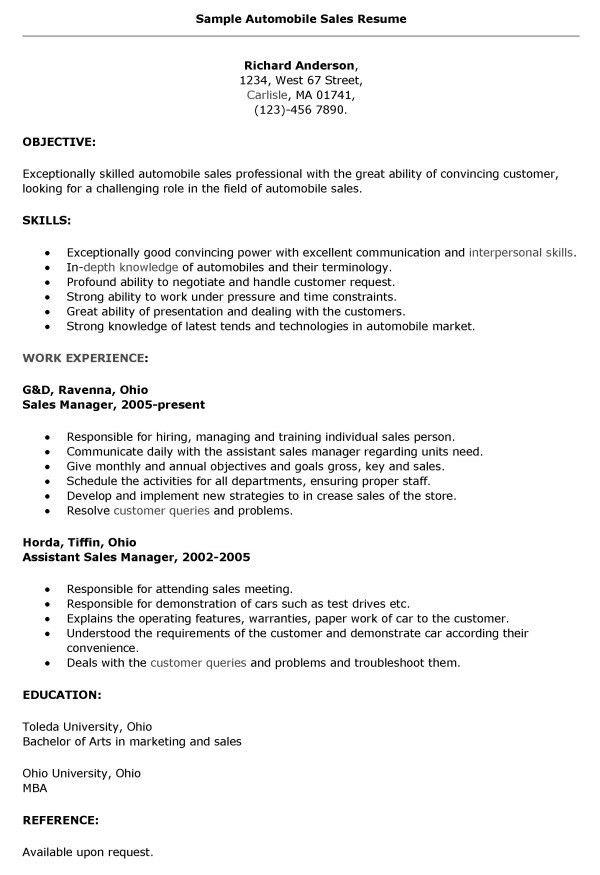Sales Resume Format. Automobile Sales Resumes - Jianbochen Com ...