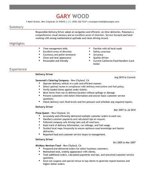 Delivery Driver Sample Resume Examples, Courier Driver Resume ...