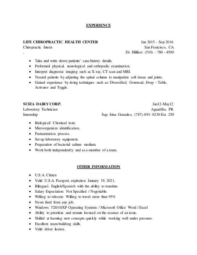 Chiropractic Resume