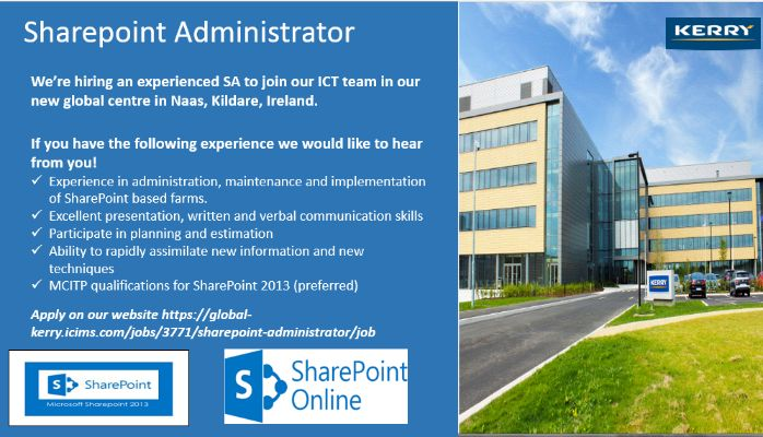 Sharepoint Administrator Role with Kerry Group | Robert McWhinney ...