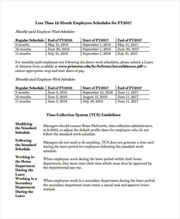 Employee Work Schedule - 7+ Free Samples, Examples Format Download ...