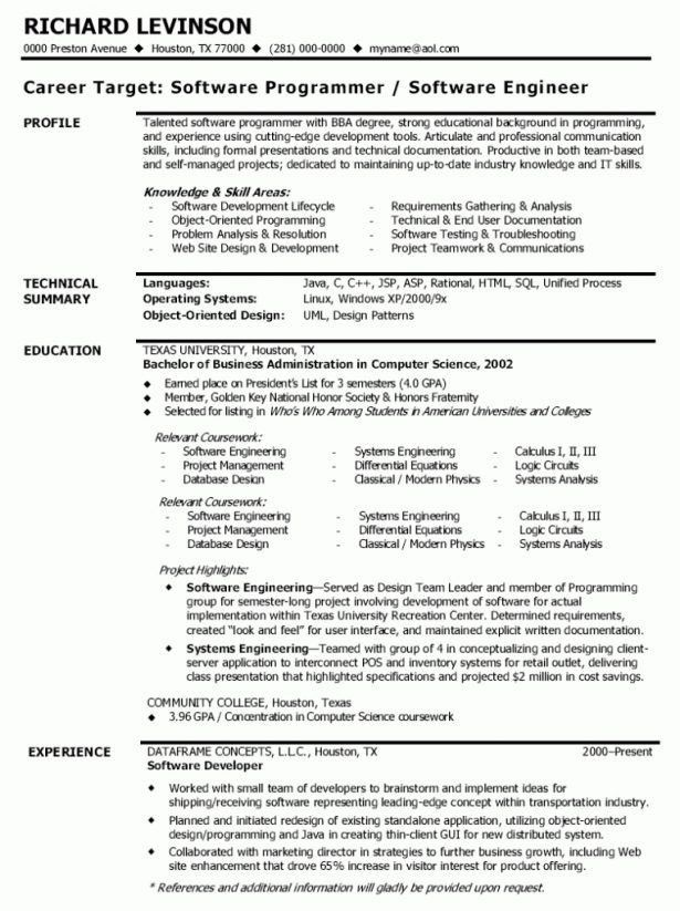 Software Engineer Resume Template. Download Free Online Resume ...