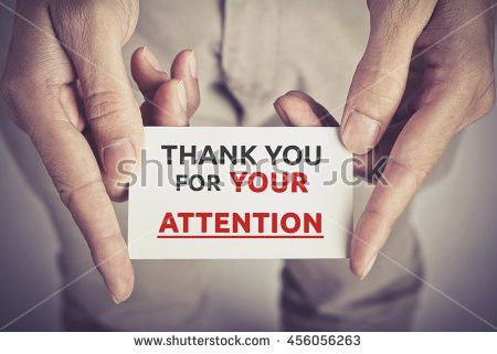 Thank You Your Attention Card Hold Stock Photo 456056263 ...