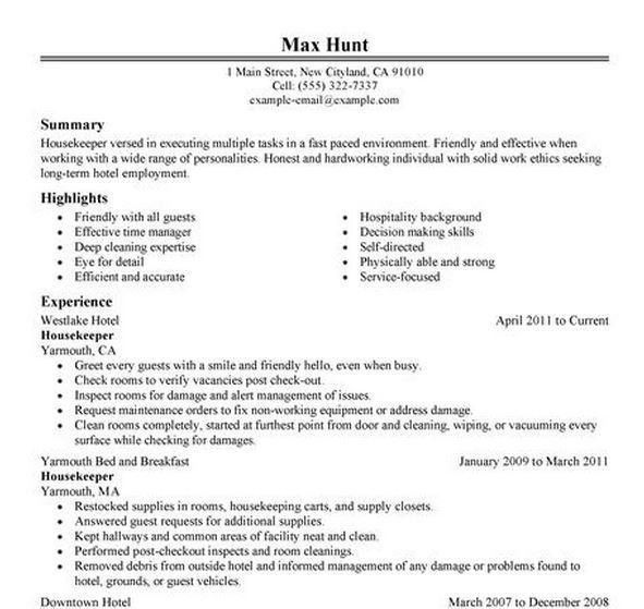 Housekeeping Aide Resume – Template Design