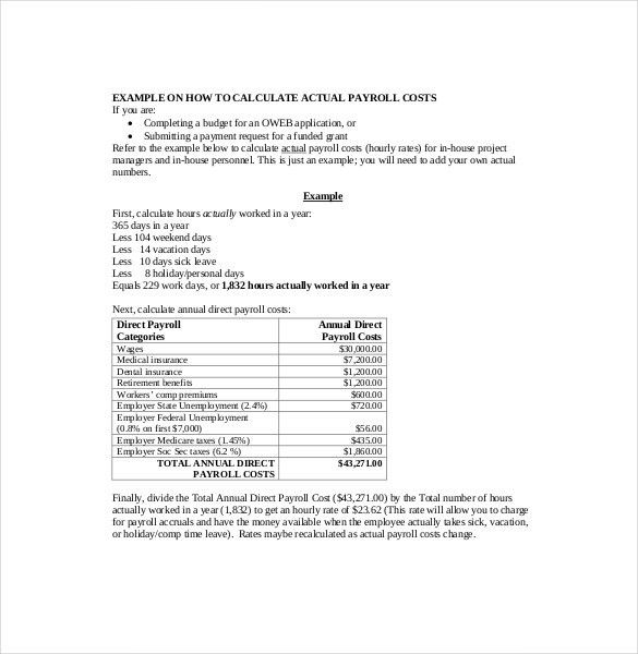 7+ Payroll Budget Templates – Free Sample, Example, Format ...