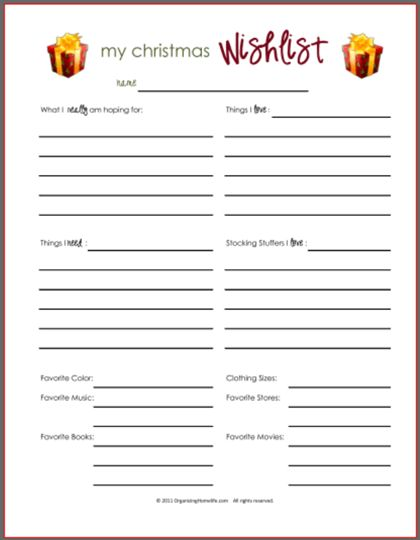 Wish Lists ~ Printables for Boys, Girls, & Everyone - Organizing ...