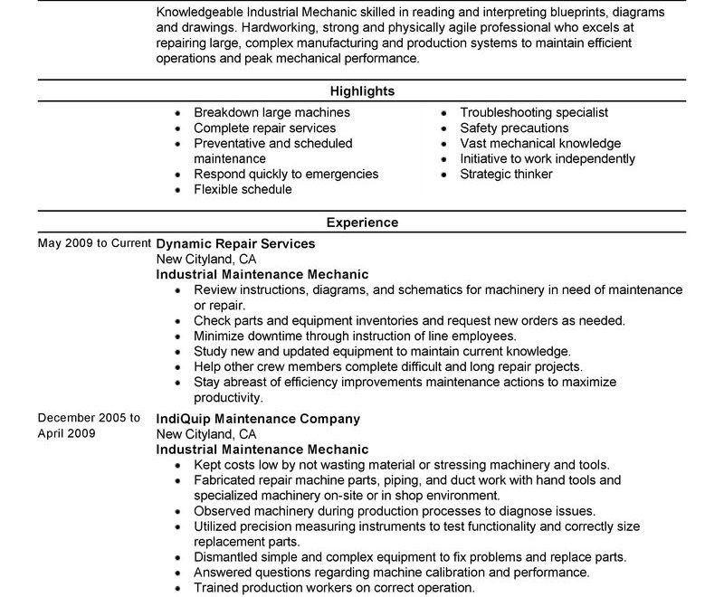Maintenance Resume Sample | Design Resume Template