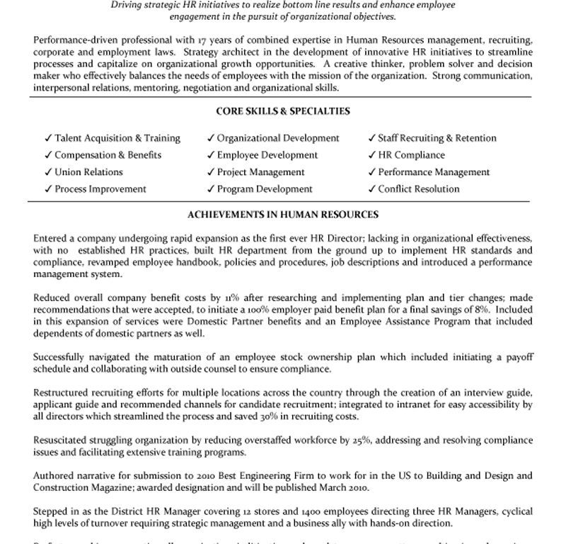 Grand Human Resources Manager Resume 16 Human Resources ...