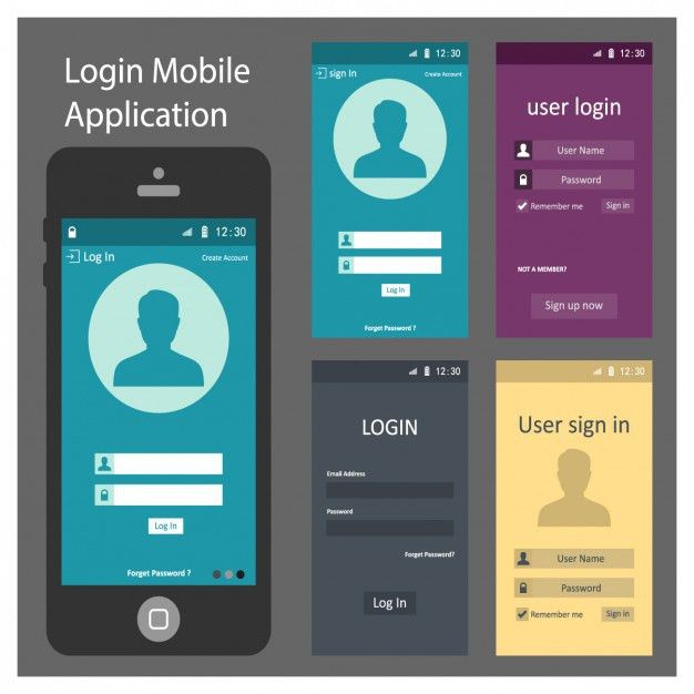 Phone screen templates design Vector | Free Download