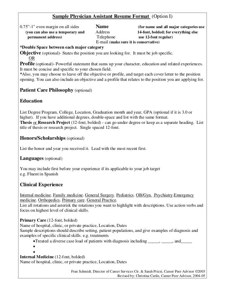Sample Physician Assistant Resume Format (Option I)