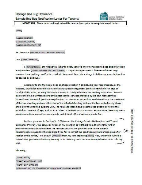 Sample Bed Bug Notification Letter For Tenants | Lawyers ...