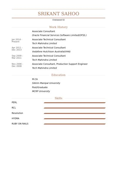 Associate Consultant Resume samples - VisualCV resume samples database
