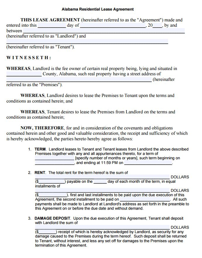 Free Alabama Rental Lease Agreement Form | PDF Template | Form ...