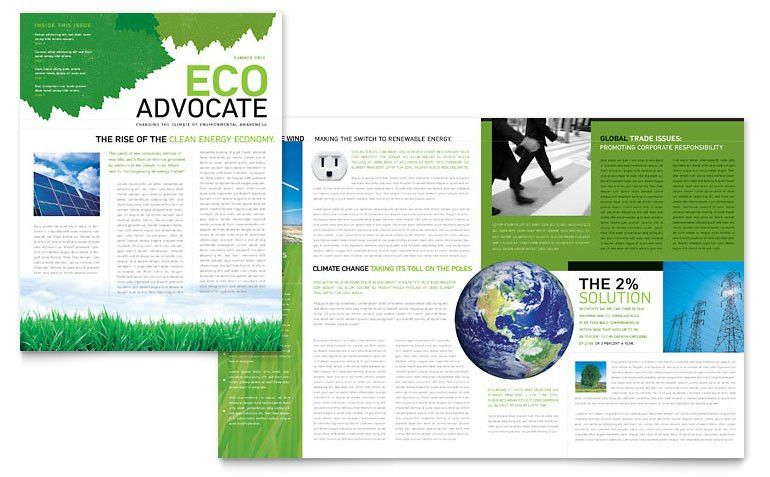 Environmental Non Profit Newsletter Template - Word & Publisher