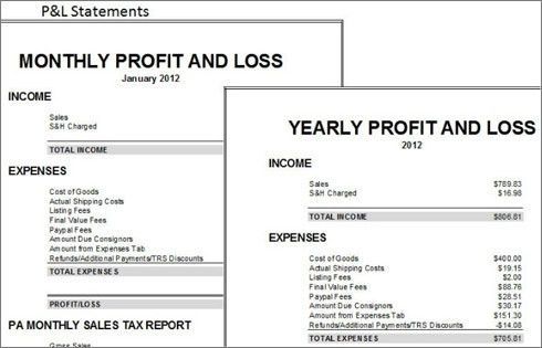 profit and loss spreadsheet template