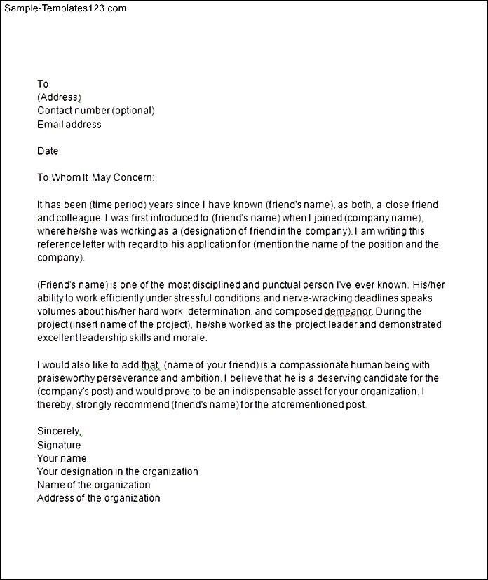 College Reference Letter Sample Friend - Mediafoxstudio.com