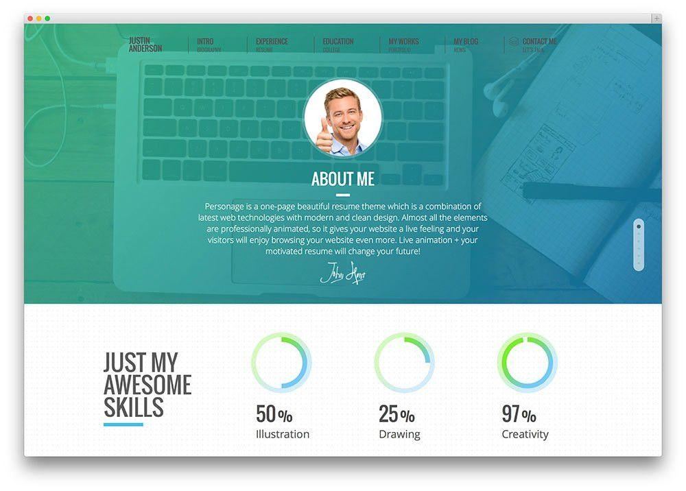 creative web resume template. resume website psd mockup websites ...