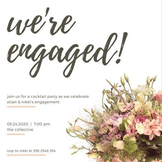 White Paper Texture Engagement Invitation - Templates by Canva