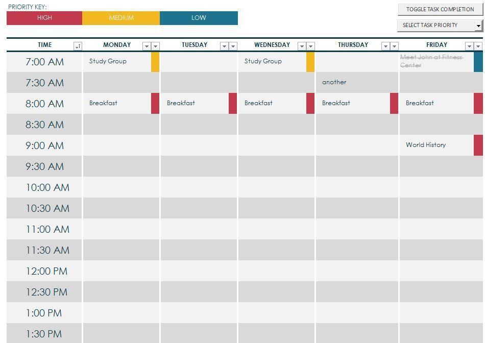 College Class Schedule Template | College Class Schedule
