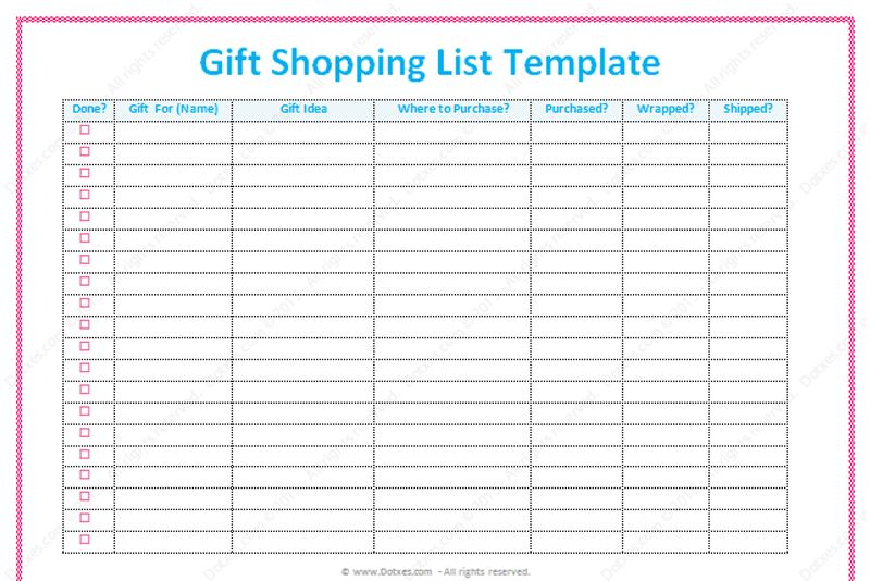 Gift List Template (Word) - Dotxes