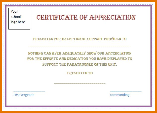 5+ certificate of appreciation template word | Itinerary Template ...