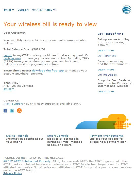 "Email Phishing Alert: Fake AT&T Customer Care ""Your AT&T wireless ..."