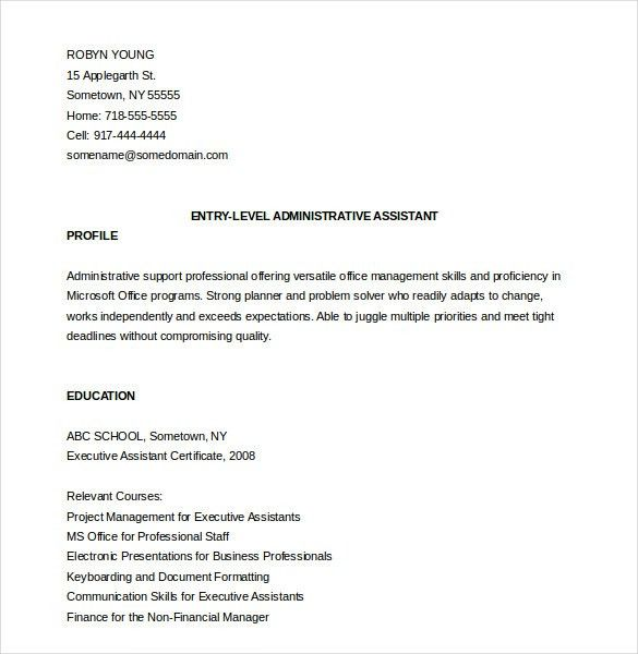 Administrative Assistant Resume Template – 12+ Free Word, Excel ...