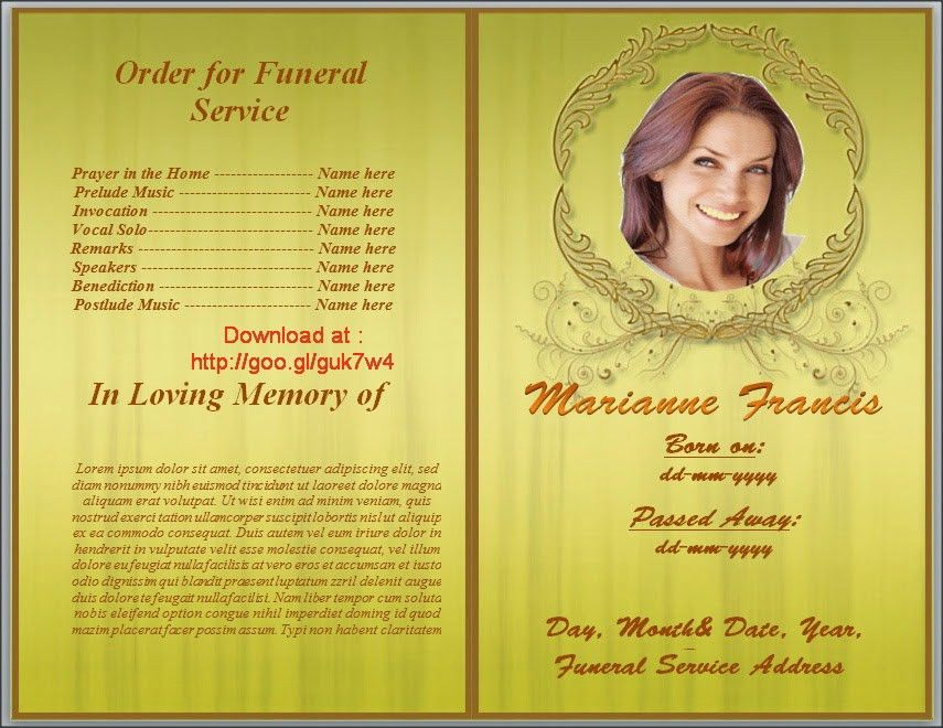 Get Yellow Themed Free Funeral Program Template MS Word To ...
