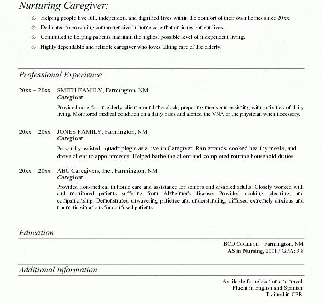 Download Caregiver Resume Samples | haadyaooverbayresort.com