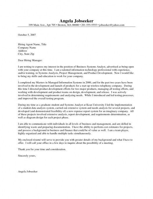 sample cover letter business analyst